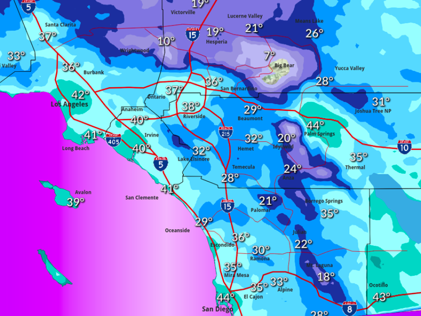 San Diego County is experiencing a cold spell that could produce some of the lowest temperatures in the region this winter.