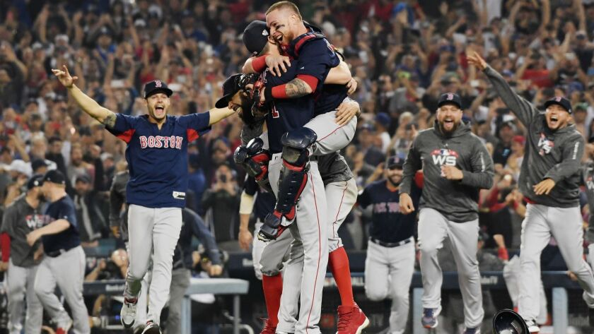 The Boston Red Sox celebrate their World Series victory.