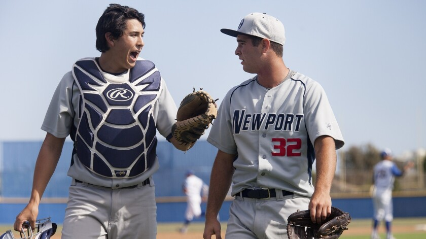 FOUNTAIN VALLEY, CA, April 13, 2016 -- Newport Harbor High catcher Max Crabbe talks with pitcher Cha