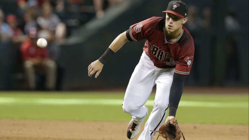 Arizona Diamondbacks third baseman Jake Lamb (22) in the first inning during a baseball game against the San Diego Padres, Sunday, July 8, 2018, in Phoenix.