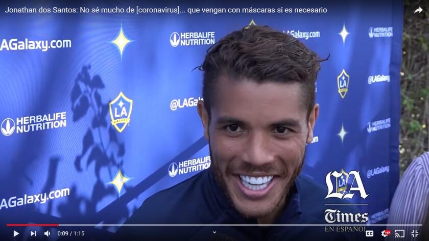 Galaxy captain Jonathan dos Santos.