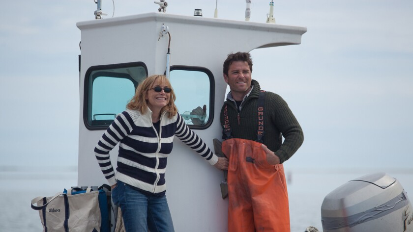 "Karen Allen and Yannick Bisson in the movie ""Year by the Sea."""