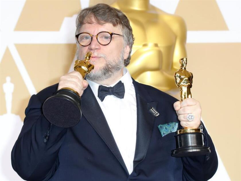 Guillermo del Toro, winner of the Best Director Award for 'The Shape of Water' and the Best Picture for 'The Shape of Water' poses in the press room during the 90th annual Academy Awards ceremony at the Dolby Theatre in Hollywood, California, USA, 04 March 2018. EFE