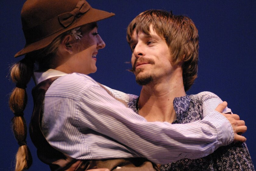 """New Village Arts ensemble member Justin Lang (pictured with Karson St. John in a 2010 production of """"As You Like It"""") is directing the theater's staging of """"The Comedy of Errors."""""""