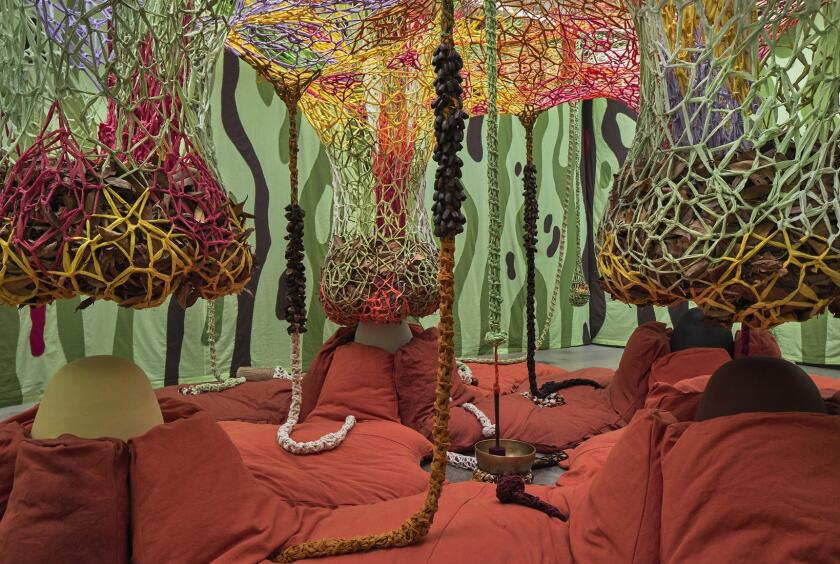 """An installation view of Ernesto Neto's """"Children of the Earth (detail),"""" 2019."""