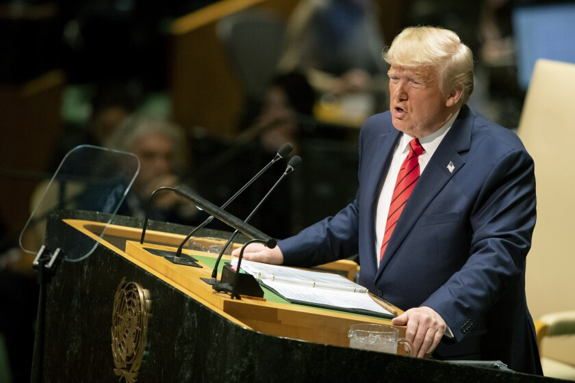 President Trump addresses the 74th session of the United Nations General Assembly in New York on Sept. 24, 2019.