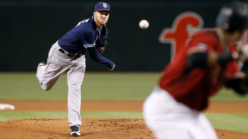 The Padres' Paul Clemens throws a pitch against the Arizona Diamondbacks during the first inning of a baseball game, Sunday, Oct. 2, 2016, in Phoenix.