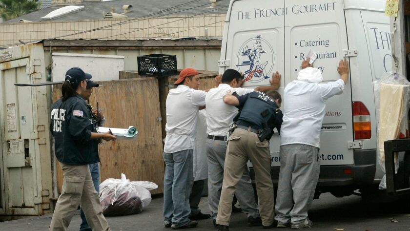 In this 2008 file photo, Immigration and Customs Enforcement agents direct and detain employees from the French Gourmet Restaurant and catering company in Pacific Beach.