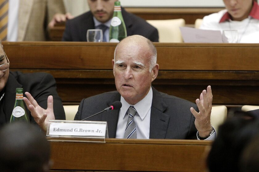 Gov. Jerry Brown at a conference on climate change at the Vatican on July 22.