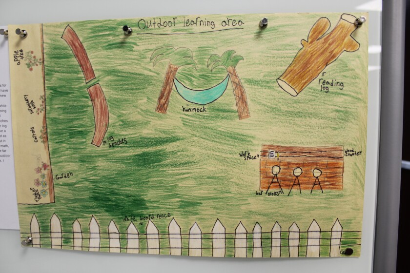 Cade's outdoor learning area.