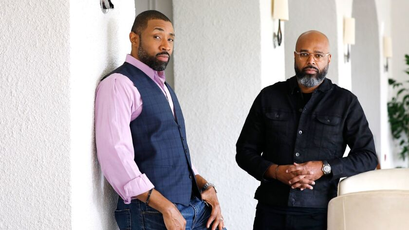 PASADENA, CA-JANUARY 7, 2018: Actor Cress Williams, left, and executive producer Salim Akil of the C