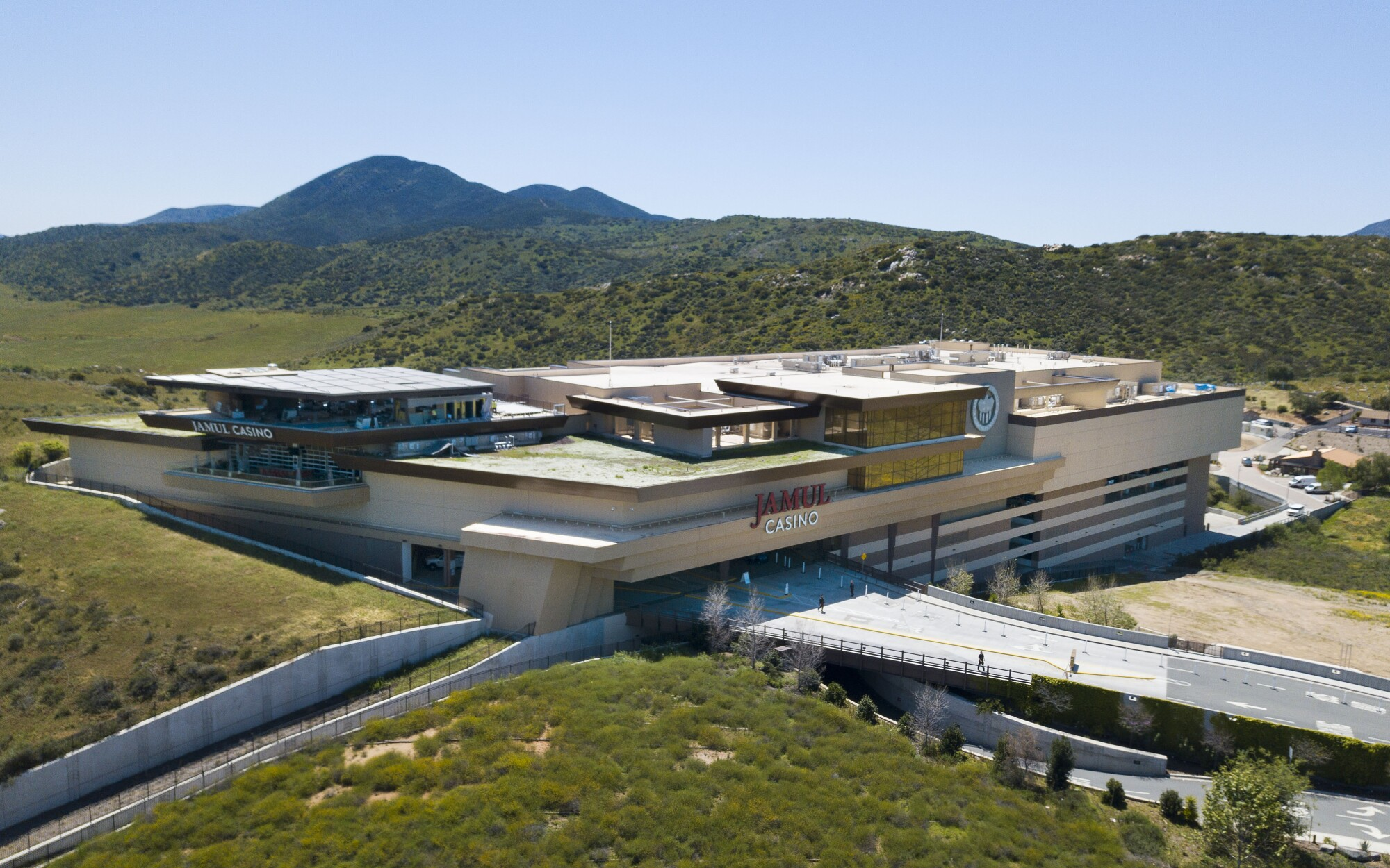 The Jamul Casino on the Jamul Indian Reservation is among a number of tribal casinos that have shut down because of Covid-19, shown here on April 15, 2020.