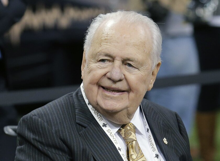 FILE - This is an Oct. 26, 2014, file photo showing New Orleans Saints owner Tom Benson sitting on the sideline before an NFL football game against the Green Bay Packers in New Orleans. A judge has denied a motion by media outlets who sought to open court for next week's trial involving New Orleans Saints and Pelicans owner Tom Benson and his estranged heirs. Judge Kern Reese, who ruled Friday, May 29, 2015, in New Orleans civil court, says he carefully weighed the public's constitutional right to access court against the 87-year-old Benson's privacy rights regarding his medical history.(AP Photo/Bill Haber, File)
