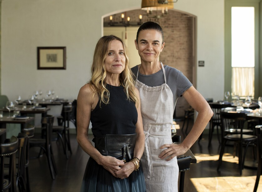 A.O.C. front-of-house Caroline Styne and chef Suzanne Goin.