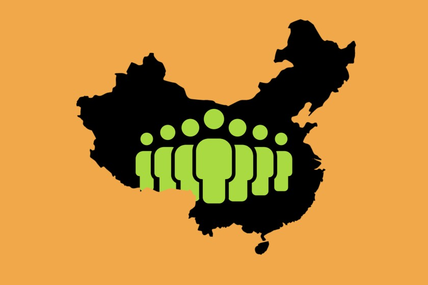Illustration of the map of China with stylized silhouettes of people on it