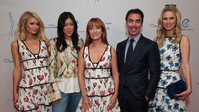 Paris Hilton, from left, Laura Kim, Jane Seymour, Fernando Garcia and Nicky Hilton Rothschild