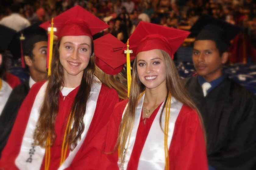 Class Valedictorians Madeleine Randel Gates and Sophia Elaine Eliopulos (La Jolla High School's Class of 2016 graduation ceremony, June 21 at UC San Diego's RIMAC Arena)