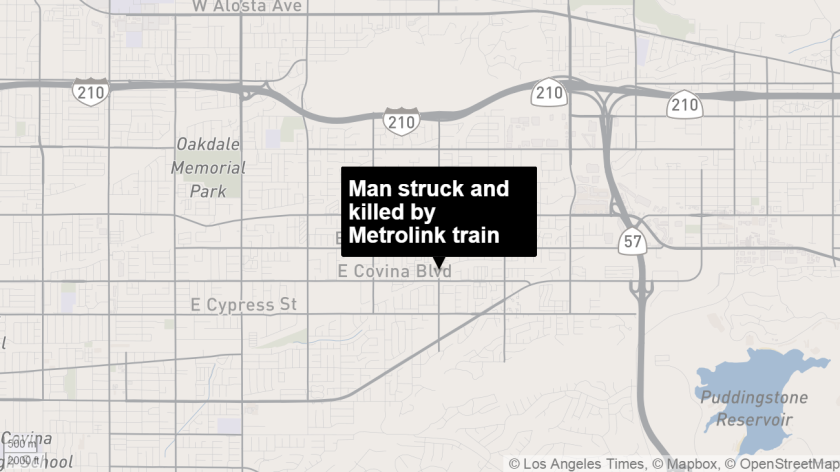 A man was struck and killed by a Metrolink train in Covina Tuesday morning.