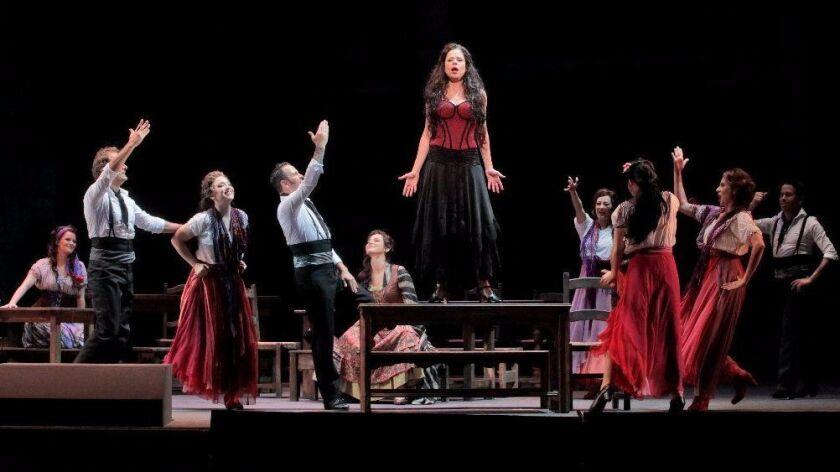 "Ana Maria Martinez in the title role of LA Opera's 2017 production of ""Carmen""."