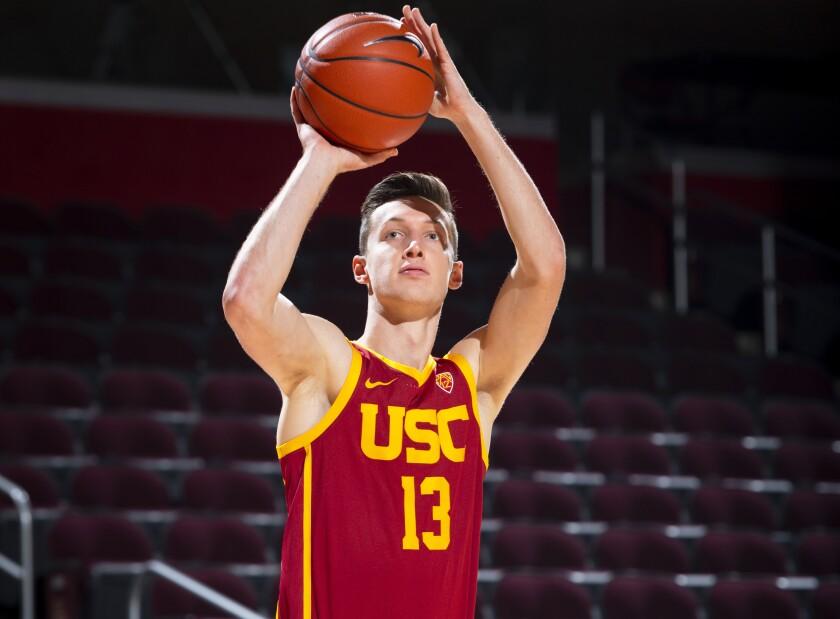 USC guard Drew Peterson takes a shot.