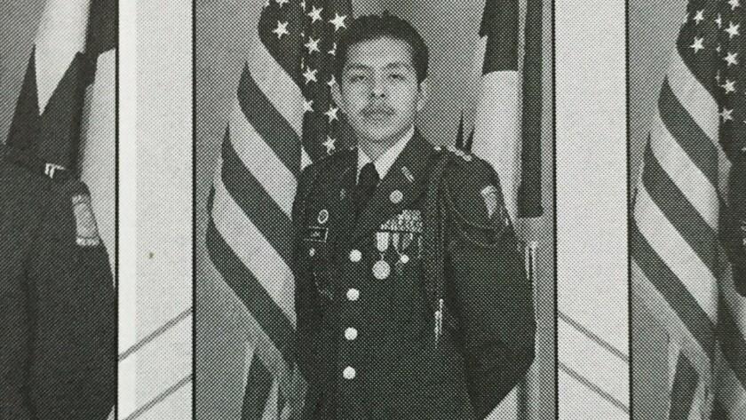 A Pharr-San Juan Alamo High School annual shows Joel Luna, who was a standout in the Army ROTC.