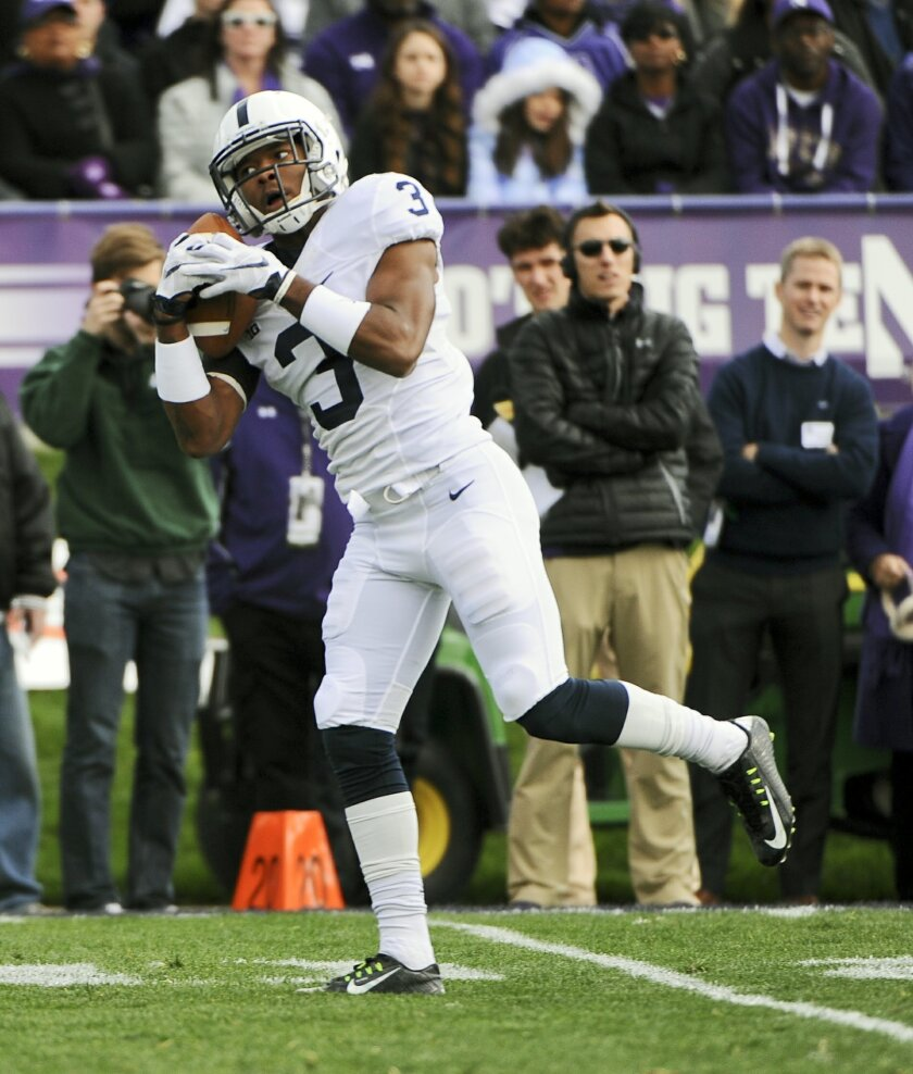 Penn State wide receiver DeAndre Thompkins (3) makes a reception during the first quarter of an NCAA college football game against Northwestern in Evanston, Ill.,  Saturday, Nov. 7, 2015. (AP Photo/Matt Marton)