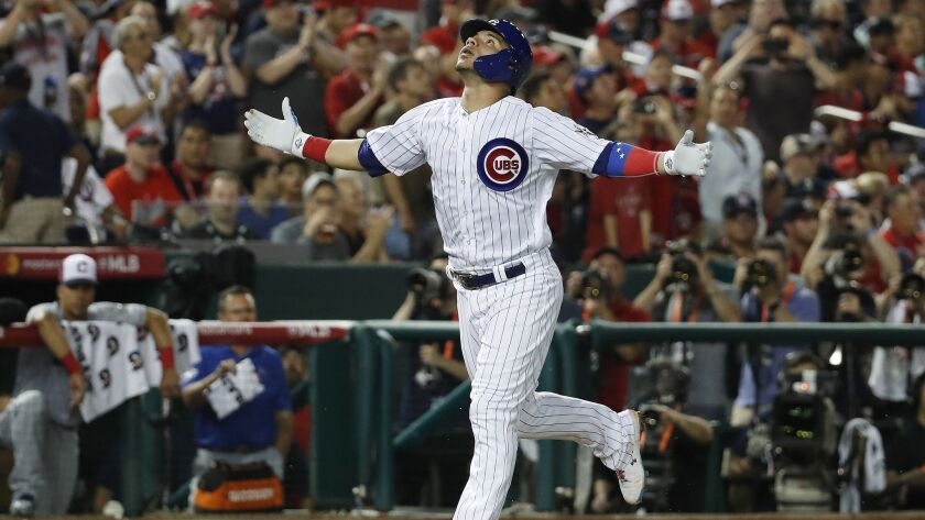 Chicago Cubs catcher Willson Contreras (40) celebrates his third inning solo home run during the Maj