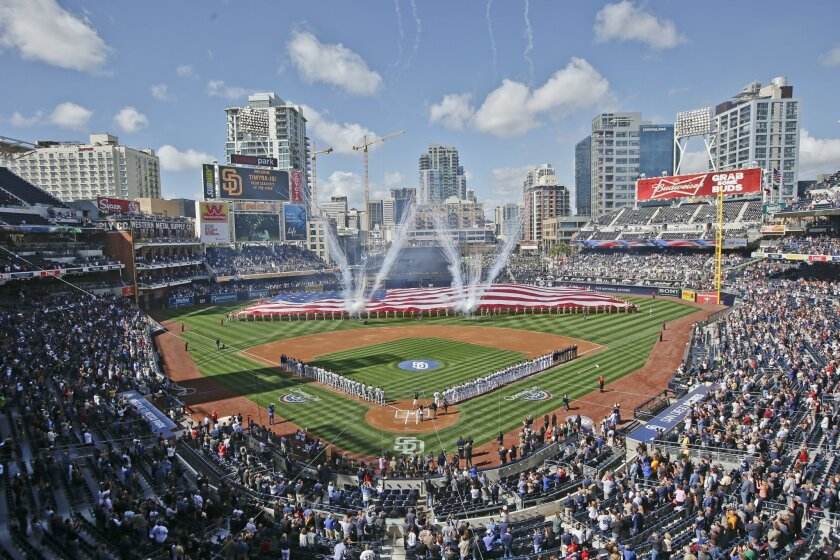 FILE - In this April 1, 2014, file photo, Opening Day celebrations take place at Petco Park before the San Diego Padres and Los Angeles Dodgers play a baseball game in San Diego. San Diego's Petco Park will host baseball's All-Star game in 2016, marking the second straight year the game will be played at a National League site. (AP Photo/Lenny Ignelzi, File)