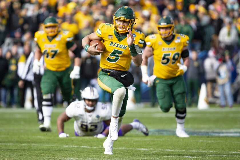 North Dakota State quarterback Trey Lance rushed for 166 yards and a touchdown in 30 carries Saturday.