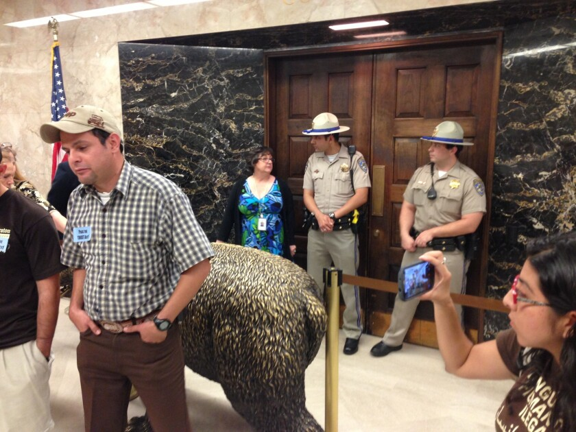 California Highway Patrol officers stand guard outside Gov. Jerry Brown's Capitol office, where activists are rallying and hoping to meet with Brown. A law that makes it harder to deport illegal immigrants was approved by the Senate.