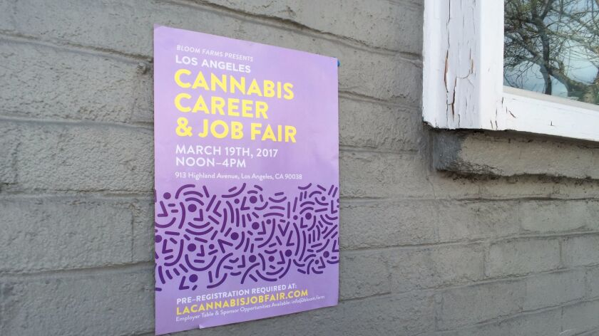 Poster for cannabis job fair at LAM Gallery in Los Angeles