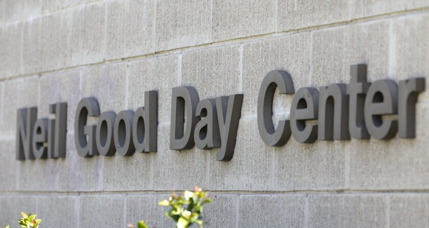 The Neil Good Day Center on 17th Street in San Diego provides the homeless with showers, mail pickup and other assistance.