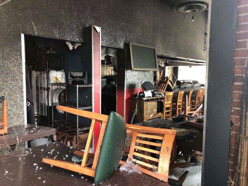 The inside of Sake House in Santa Monica the morning after the restaurant was set on fire.