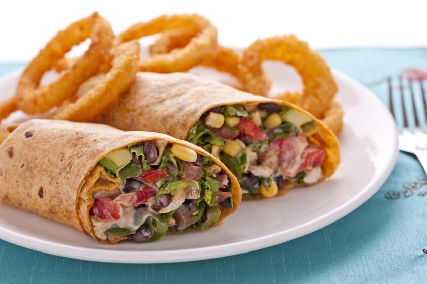 The Broken Yolk Cafe's Southwestern Chicken Wrap is a healthy and delicious choice.