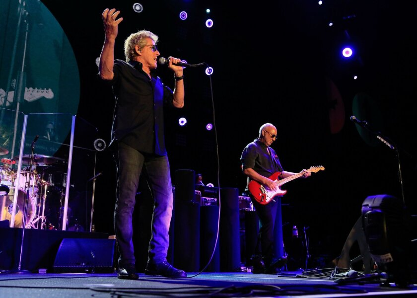SAN DIEGO, CA-MAY 27, 2012: | Lead singer Roger Daltrey and guitarist/singer Pete Townshend, two of the surviving members of The Who, perform at Valley View Casino Center Friday. |(Misael Virgen / San Diego Union-Tribune)