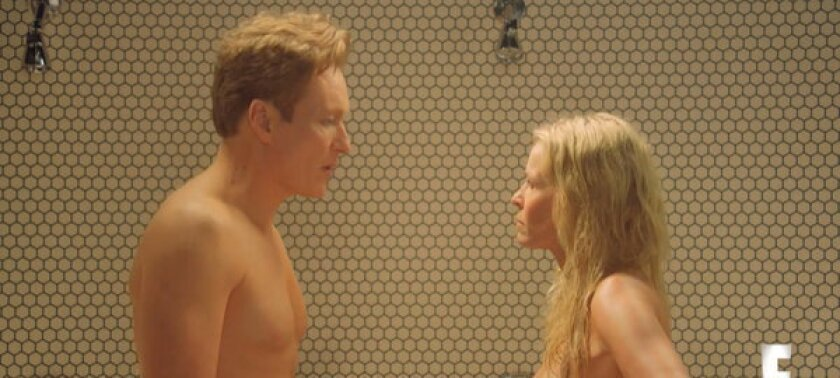 """Conan O'Brien and Chelsea Handler fight in the shower nude during a """"Chelsea Lately"""" sketch."""