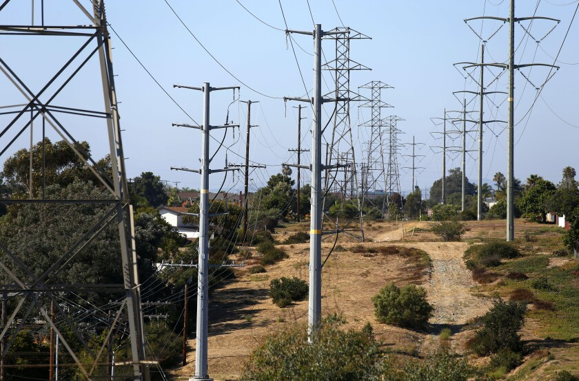 Power lines run through the Clairemont neighborhood of San Diego. After more than a year of meeting and discussion, the San Diego City Council adopted a community choice aggregation, or CCA, energy program.