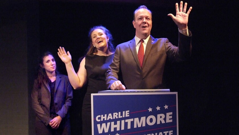 """Candidate Charles Whitmore (Rob Nagle) is backed by his campaign manager (Annika Marks, left) and his wife (Tracie Lockwood) in Skylight Theatre's """"Church & State."""""""