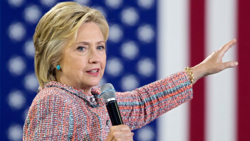 U.S. Democratic presidential candidate Hillary Clinton campaigns at Northern Virginia Community College in Annandale, Va., on July 14.