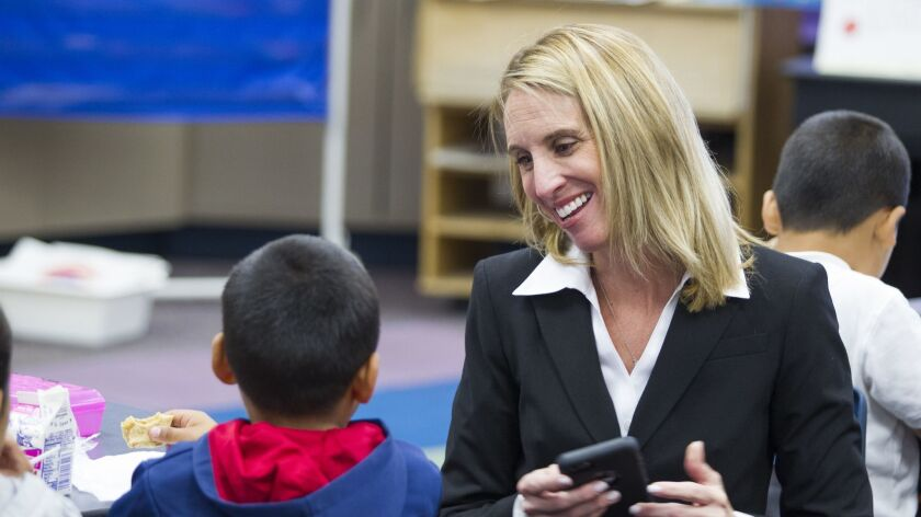 National School District superintendent Dr. Leighangela Brady visits students at Olivewood Elementary during class on Tuesday, September 13.