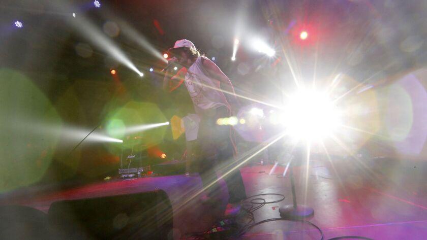 INDIO, CALIF. - APRIL 12, 2019. Vocalist Brendan Yates fronts Turnstile, an American hardcore punk