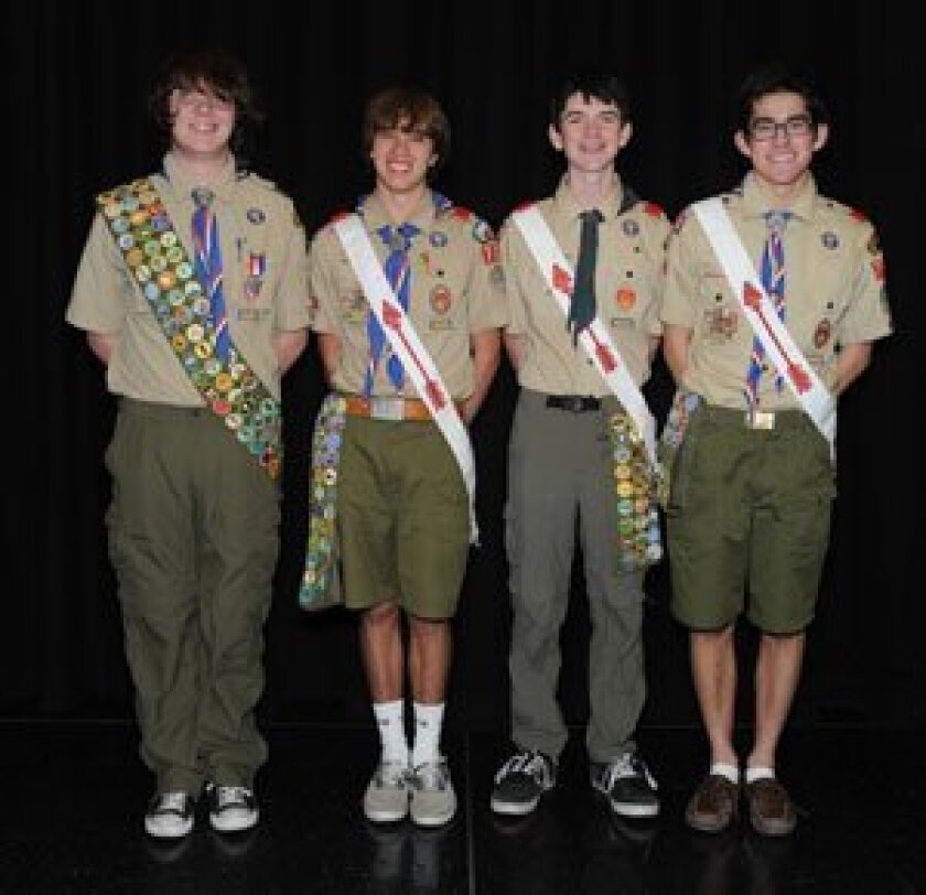 Troop 782's newest Eagle Scouts are Adam Woodnutt, James Hunter, Nick Post and Noah Toyonaga. Courtesy