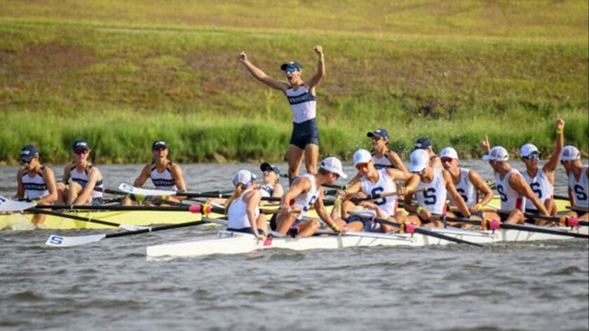 Newport Aquatic Center celebrates after winning the men's lightweight 8+ event at the USRowing Youth