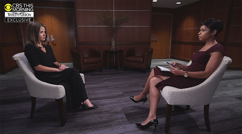 Brittany Commisso with CBS interviewer Jericka Duncan sitting in chairs