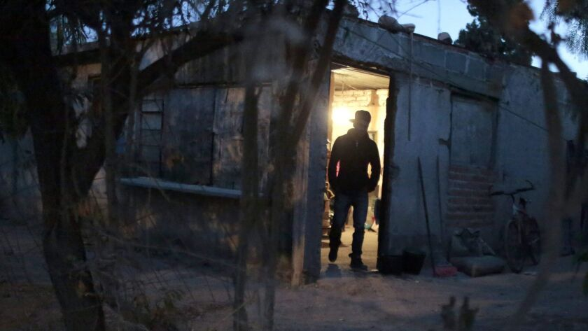 A man who lost his job after plans for a Ford car factory were called off at his home at La Presita village in Villa de Reyes, near San Luis Potosi, Mexico.