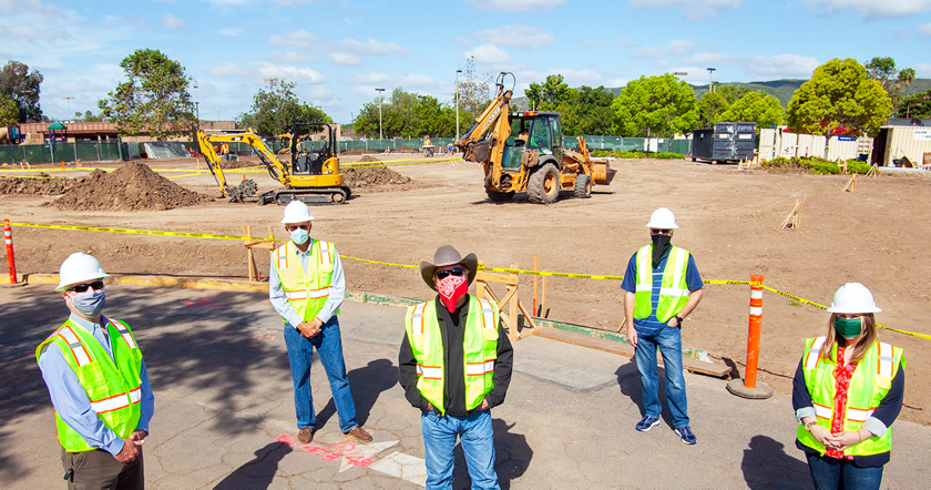 City Council members Barry Leonard, Dave Grosch, Mayor Steve Vaus, John Mullin and Caylin Frank visited the site of the new community center on May 14.