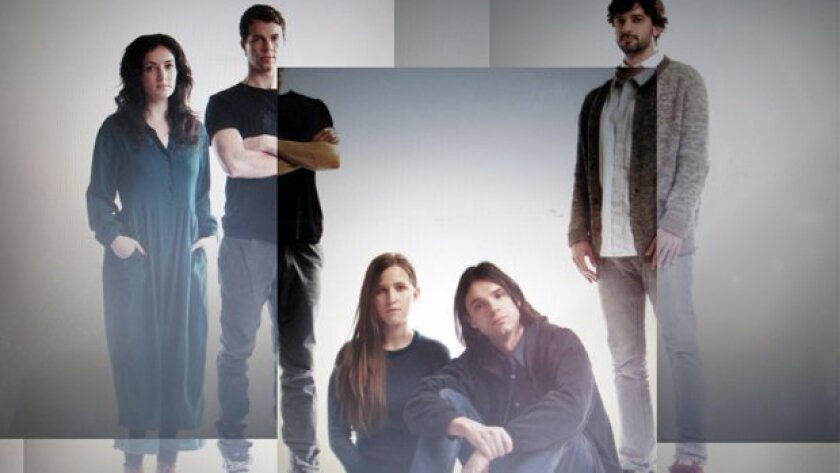 Dirty Projectors, led by Dave Longstreth (third from left), performs Sunday at House of Blues. the New York-based band includes former San Diegan Amber Coffman (fourth from left).