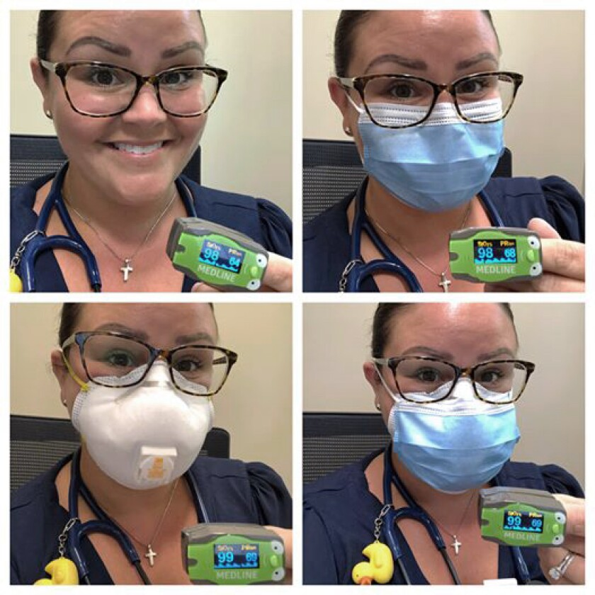 Dr. Megan Hall showing her oxygen saturation levels with and without masks.