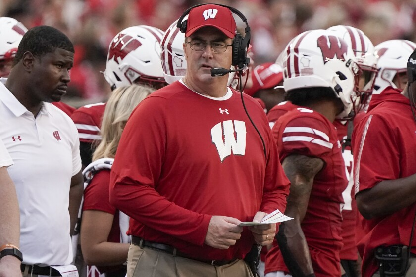 Wisconsin head coach Paul Chryst watches during the first half of an NCAA college football game against Eastern Michigan Saturday, Sept. 11, 2021, in Madison, Wis. (AP Photo/Morry Gash)