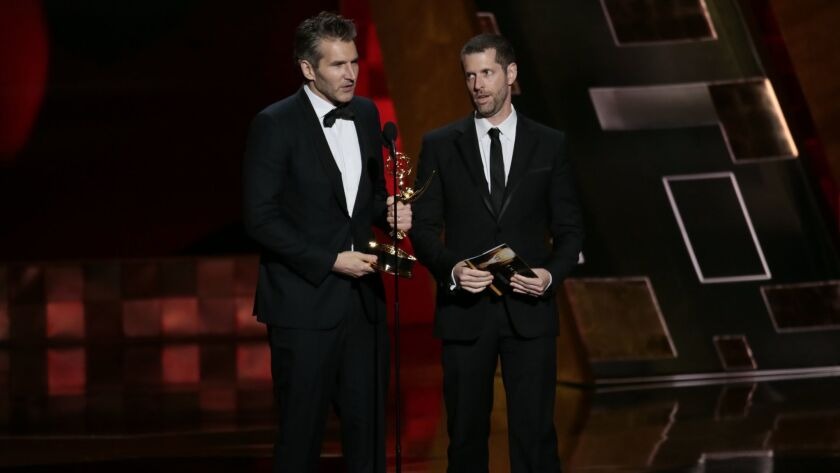 LOS ANGELES, CA., September 20, 2015: David Benioff and D.B. Weiss on stage to accept the